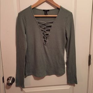 Soft Green Lace Up Top